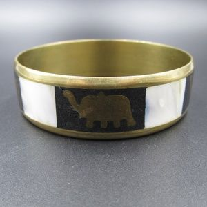 Vintage Cute Shell Inlay Elephant Bangle Bracelet